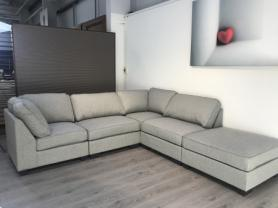 AMORE MADRID COMFY MODULAR CHAISE CORNER SOFA WITH FOOTSTOOL