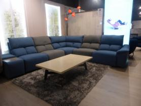 STUDIO FABULOUS TRENDY FABRIC MODULAR CORNER SOFA WITH 2 RECLINERS
