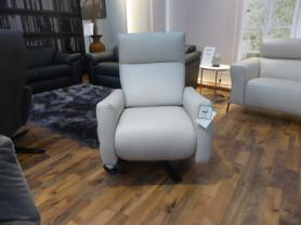 NATUZZI EDITIONS TWIN MOTORS STONE LEATHER RECLINER SWIVEL CHAIR