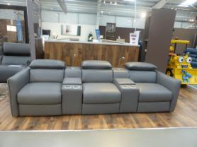 NATUZZI CINEMA SOFA  WITH STORAGE & LIGHT ITALIAN LEATHER