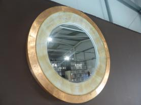 Large Reclaimed wooden mirror with metal edging