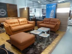 Natuzzi Dolce Arancia Leather 3 & 2 Seater with footstool