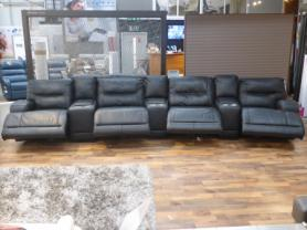 NATUZZI PRIVATE LABEL ITALIAN LEATHER ALL POWER RECLINER CINEMA SOFA
