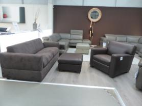 Natuzzi sofa bed with contrast leather chair and footstool