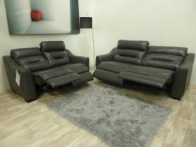La-Z-Boy Tara 3 & 2 Seater Manual Recliners in Charcoal Grey Leather