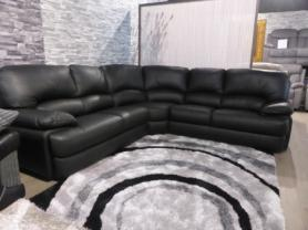 Hand made in Italy full black leather high back corner sofa by ICD