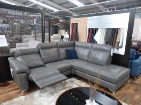 Natuzzi Private label Valencia leather power reclining corner sofa