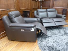 San Marco Hand made in Italy 2 seater & chair both power recliners