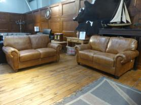 Charles Morgan Beautiful Full Natural Leather 2 & 2 Seater sofas