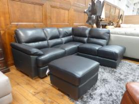 Mizzoni Italia Amalfi black leather corner sofa with storage footstool