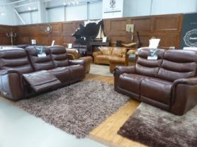 La-z-boy Sheridan Leather 3 Seater manual recliner & static 2
