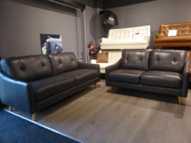 Daisy Grey Leather modern 3 & 2 seater sofa