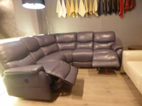 Mizzoni Italia arm to arm power reclining thick leather corner sofa