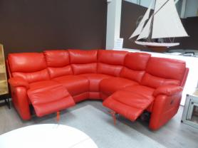 Mizzoni Italia thick leather sunburst red power reclining corner sofa