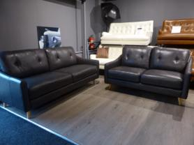 Palermo Grey leather pocket sprung 3 & 2 seater sofas