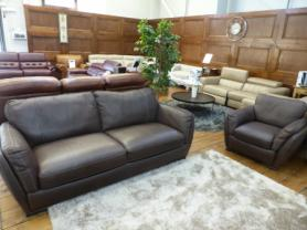 Natuzzi A399 Ettore Natural leather 3 seater & matching chair