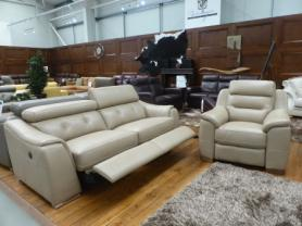Enzo full leather Power reclining 3 seater and chair