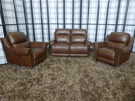 Geneva thick leather 2 seater with 2 power reclining chairs