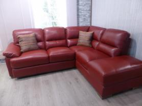 Amalfi full leather Cranberry chaise corner sofa
