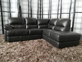 Amalfi full leather corner sofa in Esspresso leather