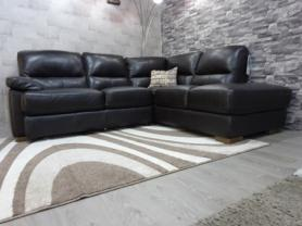 Amalfi Full Leather Compact Corner Sofa in Esspresso Leather