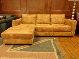 Jasper beautiful tan leather 3 seater chaise sofa