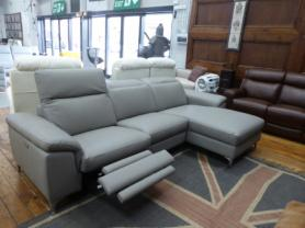 Lucerne family friendly leather 3 seater power reclining chaise sofa