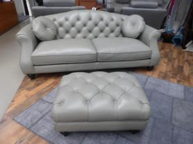 Penelope beautiful thick Grey leather 3 seater with matching footstool