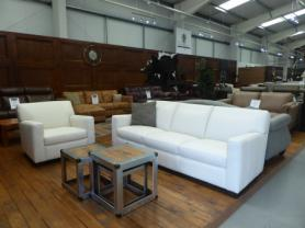 Natuzzi Private label Sydney lovely soft Ivory leather 3 seat & chair