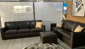 Natuzzi Private label Darwin soft leather 3 & 3 seater with footstool