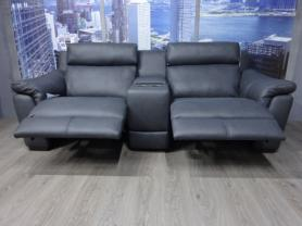 Natuzzi Arezzo Grey Leather power recliner cinema sofa