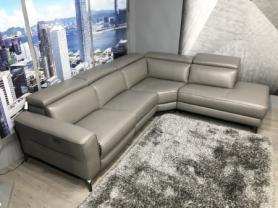 Volante Pescara power reclining full leather corner sofa