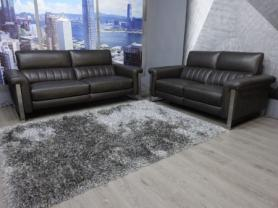 Francoferri Italia Donatelli Grey Leather Power reclining 3 & 2