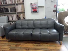 Natuzzi Portento thick Grey leather large sofa