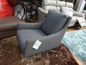 Natuzzi Regina designer compact chair in grey fabric