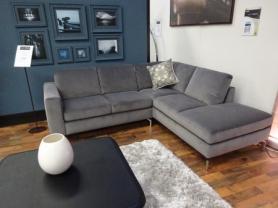 Natuzzi Sollievo grey velvet soft fabric R/H chaise corner