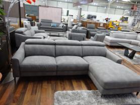 Volante Berlin soft Grey fabric Power reclining 3 seater chaise sofa