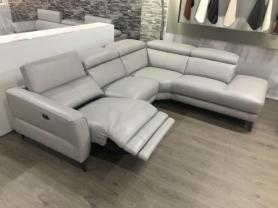 Milano thick leather power reclining corner sofa