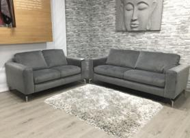 Natuzzi Sollievo Soft grey Velvety fabric 3 & 2 seater