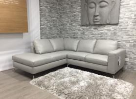 Natuzzi Sollievo soft grey leather corner sofa