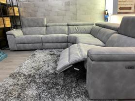 Volante Panama beautiful soft Nubuk fabric power reclining corner sofa