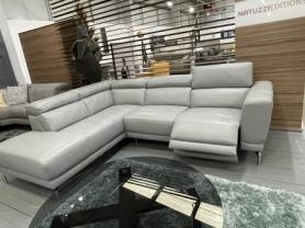 Natuzzi C106 Tranquillita Grey leather power reclining Corner sofa