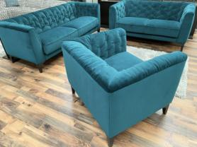 Natuzzi Piacere soft teal/blue velvety fabric 3 , 2 & chair