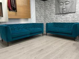 Natuzzi Piacere soft blue/teal velvety fabric 3 & 2 seater sofa