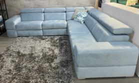 Oakland soft french velvet power reclining arm to arm corner sofa