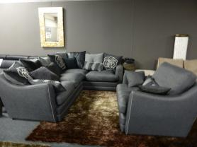 FURNICO fabric corner sofa with love chair