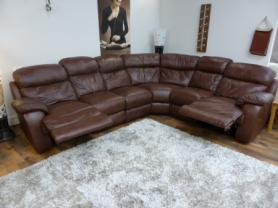 ITALIAN PROTECTA LEATHER BROWN MANUAL RECLINING CORNER SOFA