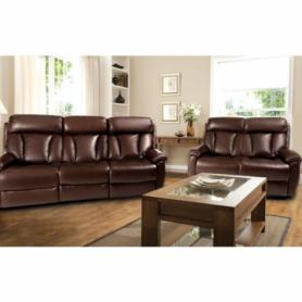 La-z-boy brown Leather Georgia 3 & 2 seater manual recliners