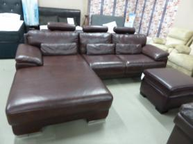 FULL high grade leather chaise Corner Suite with headrests & footstool