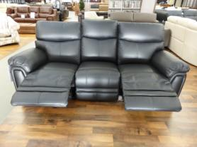 La-z-boy Tampa black Leather 3 seater electric and 2 manual recliner